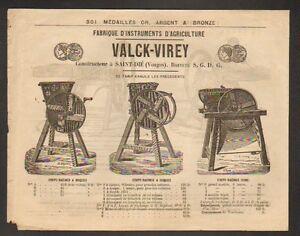 SAINT-DIE-88-CONSTRUCTEUR-de-MACHINES-AGRICOLES-034-VALCK-VIREY-034-Tarifs-vers-1870