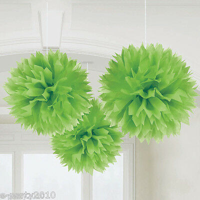 Large FLUFFY GREEN POM DECORATIONS ~ Baby Bridal Shower Birthday Party Supplies
