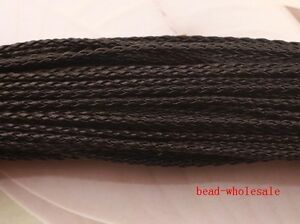 5M-Black-Man-made-Leather-Braid-Rope-Hemp-Cord-For-Necklace-Bracelet-3mm
