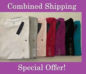 NWT-Tommy-Hilfiger-Solid-V-Neck-Multi-Color-Short-Sleeve-T-Shirts-for-women