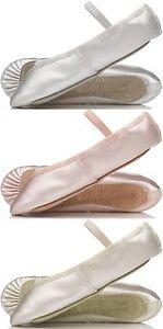 Provora marfil satinado Bridesmaids Zapatos. CHILDS & Adultos dimensiones adecuadas para Ballet