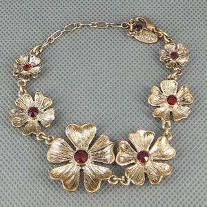 Antiqued-brass-Flowers-red-Cubic-Zirconia-Bracelet