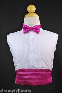 Infant Toddler & Boys FUCHSIA CUMMERBUND + BOW TIE Set Tuxedo Suit Sz: S-28