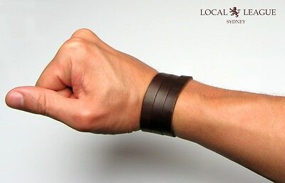 SURFER MENS BRACELET WRISTBAND Adjustable Multi Wrap Cuff LEATHER Brown Black