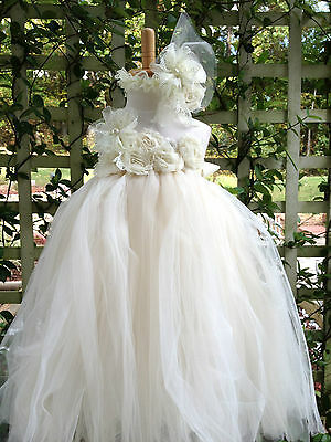 ivory Vintage flower girl tutu dress hair bow band Wedding photograph Pageant