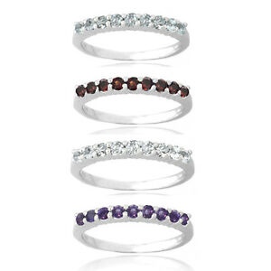 Sterling-Silver-Semi-Eternity-Gemstone-Band-Ring-4-Colors