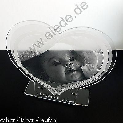 Acrylherz mit großer Fotogravur ~ Erinnerung Geburt Weihnachten Schulanfang Baby