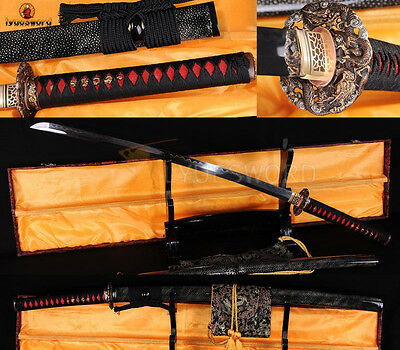 TOP QUALITY JAPANESE SAMURAI KATANA FOLDE STEEL CLAY TEMPERED SWORD DRAGON TSUBA