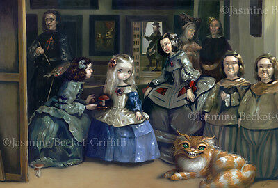 Jasmine Becket-Griffith art BIG print SIGNED Alice and Las Meninas cheshire cat