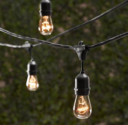 7 Bulbs Vintage Patio String Lights Black Cord Clear Glass Edison Bulbs 18'