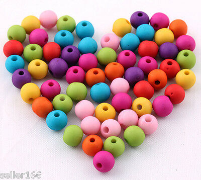 200 pcs 6mm mixed color acrylic Matte beads spacer findings charms