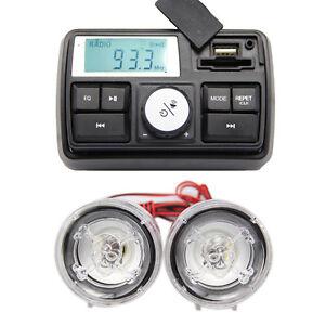 Motorrad-MP3-Player-Alarmanlage-FM-Radio-Lautsprecher-SD-USB-Uhr-Fernbedienung