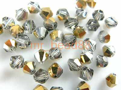 200pcs Coloful Glass Crystal Faceted Bicone Loose Spacer Beads 4mm All Color In
