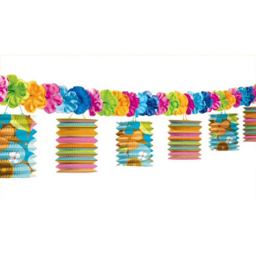 Hawaiian Party Tiki paper Lantern Garland & flowers banner 12 feet FREE PP