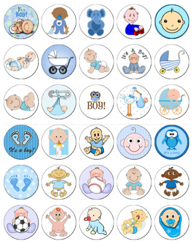 30 x Baby Boy Baby Shower - Christening Party Cup Cake Toppers / Decorations