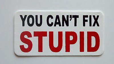 3 - You Can't Fix Stupid / Roughneck Hard Hat Oil Field Tool Box Helmet Sticker