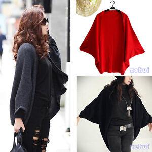 Womens-Batwing-Dolman-Cropped-Cardigan-Sweater-Knit-Bolero-Poncho-Cape-Coat-New