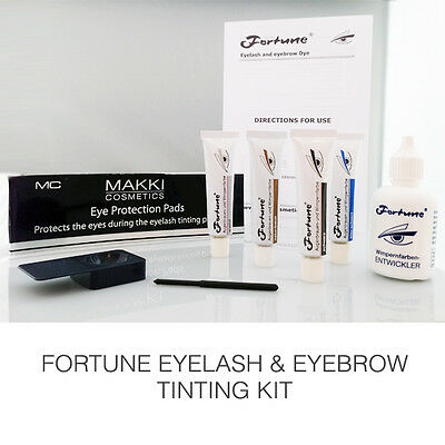 FORTUNE EYELASH & EYEBROW TINT DYE COLOUR COMPLETE KIT AVAILABLE IN FOUR COLOURS