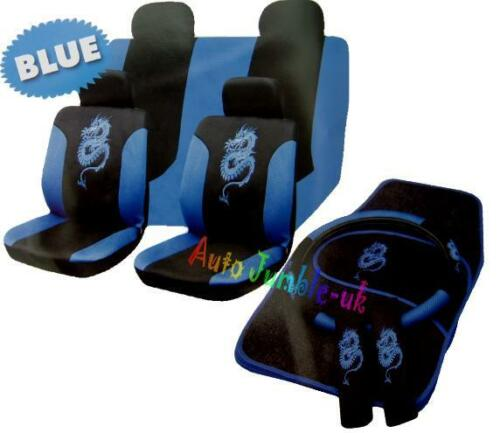 4pc mat set Blue Dragon car seat cover steering wheel covers seat belt pads