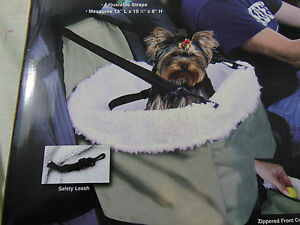 DOG CAR SEAT BOOSTER SEAT WITH REMOVABLE FAUX SHEEPSKIN LINING NEW SM