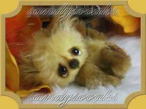 SANDYSOOAKS-Artist-Teddy-Bear-034-JERONIMO-034-Mini-3-3-Inches-Miniature-OOAK-by-SANDY