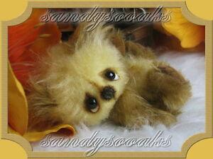 SANDYSOOAKS-Artist-Teddy-Bear-JERONIMO-Mini-3-3-Inches-Miniature-OOAK-by-SANDY