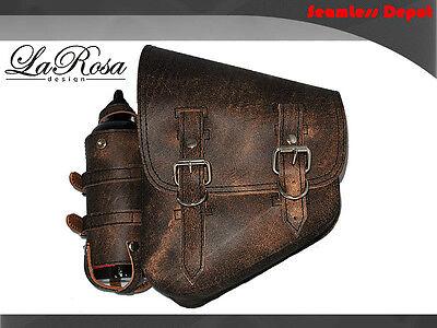 La Rosa Rustic Brown Leather Harley Softail Chopper Left Saddlebag + Fuel Bottle
