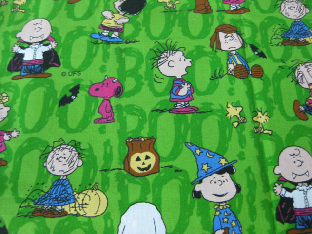 Peanuts Snoopy Halloween Green BOO Fabric 13 Inches x 43 Inches