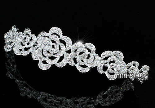 Bridal Wedding Vintage Style Rose Crystal Headband Tiara T1578