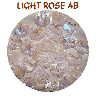 F4 LRX *** 80 PERLES A FACETTES VERRE DE BOHÊME 4MM LIGHT ROSE AB