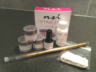 NSI Attraction Acrylic Nails Sampler Kit, Primer, Powders, Liquid, Tips & Brush