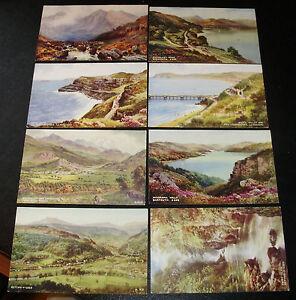 8-x-NORTH-WALES-Valentines-Postcard-BARMOUTH-Snowdon-LLANDUDNO-Bettws-y-Coed