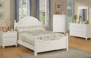 Lovely White Panel Headboard Young Girls 4 PC Wooden Youth Twin ...