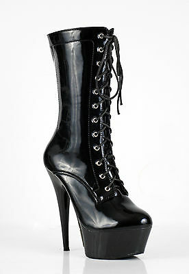 New Women High Heel Mid Calf length Ankle Boots Sexy LaceUp-AB12801