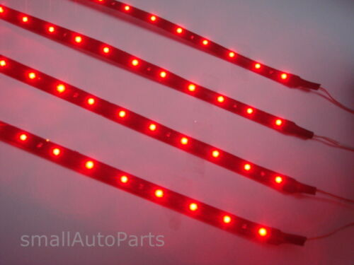 "4x 12/"" Super Red 1210 SMD Flexible LED 12V Light Strips for car//truck//suv//boat"