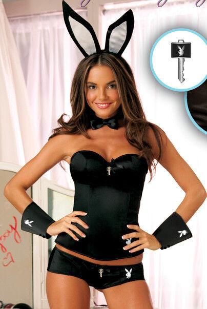NWT PLAYBOY Bunny Playmate Halloween Costume CORSET Set BLACK LARGE Accessories