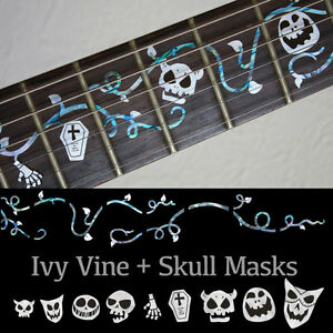 Ivy Vine with Skull Masks Halloween Fret Marker Inlay Decal For Guitar