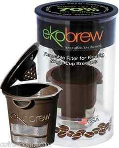 Ekobrew-Reusable-K-Cup-Refillable-Filter-For-Keurig-Brewer-BROWN-CANISTER