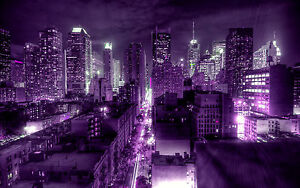 Purple New York Modern City Canvas Picture 16 Quot X20