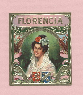 LA1513 OUTER CIGARBOX LABEL FLORENCIA , SPANISH WOMAN IN MANTILLA, , EMBOSSED