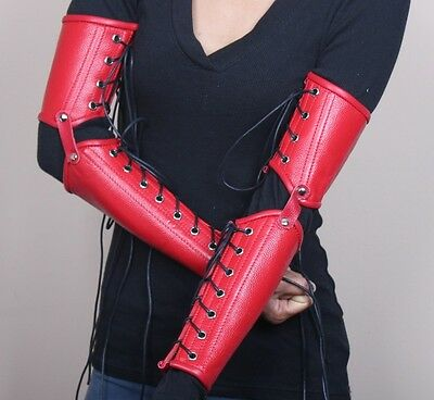 Halloween Costume! Leather Arm Gauntlets Goth EMO Punk SCA Red
