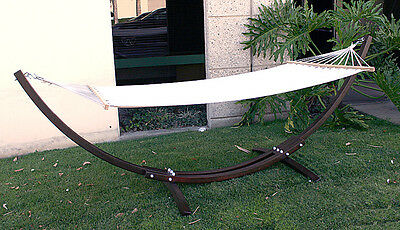 New MTN Deluxe Cypress Curved Wooden Wood Arc Hammock Stand w/ Cotton Hammock