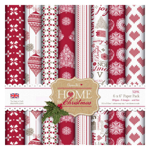 6x6 *Home for Christmas* backing paper 8 sheets SCRAPBOOKING papermania docrafts