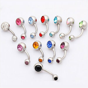 Mixed-Lot-New-12pcs-14G-Double-Gem-Crystal-Navel-Rings-Belly-Bars-393