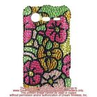 HTC Incredible 2 6350 Full Diamond Case Cover Green w/ HOT Pink Hawaii Flower