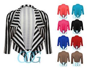 Womens-Ladies-Waterfall-Style-3-4-Sleeve-Crop-Blazer-Jacket-Coat-Top-8-10-12-14