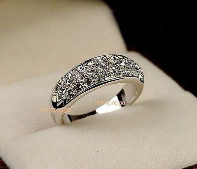 Elegant Jewelry 18K White Gold GP Swarovski Crystal   Wedding Wide Ring BR1174