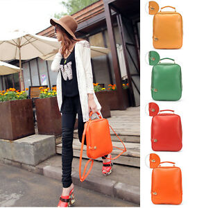 New-Autumn-Designer-Women-039-s-PU-Leather-Candy-Backpack-School-Bag-Travel-Bags-NWT