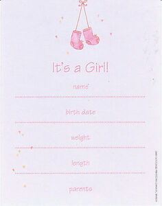 ITS-A-GIRL-ANNOUNCEMENTS-8-CARDS-Baby-Fill-In-Easy-Newborn-Birth-Pink-Cute-NEW