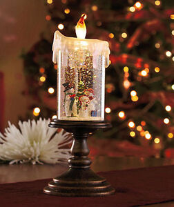 Lighted snowman led flame candle snowglobe pedestal holiday christmas decor new ebay - Appealing christmas led candles for christmas decorations ...